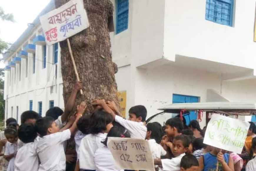 Students embrace their favourite tree crying to save it from felling