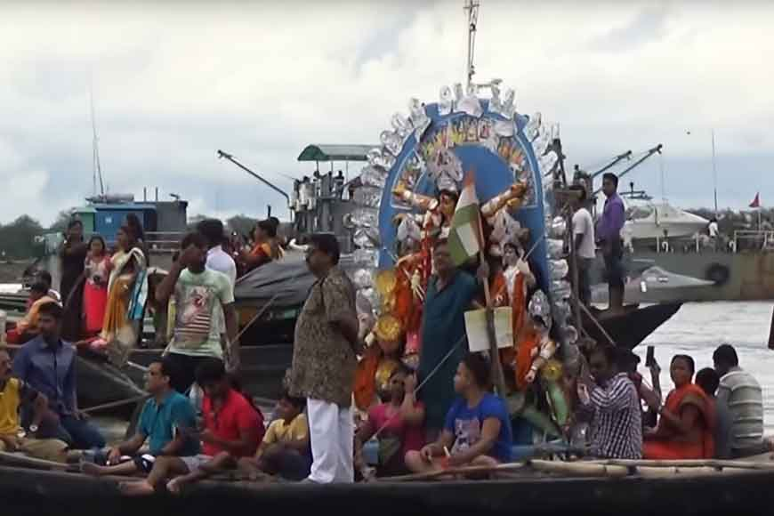 Durga Immersion! Watch from a launch at Taki on River Ichhamati