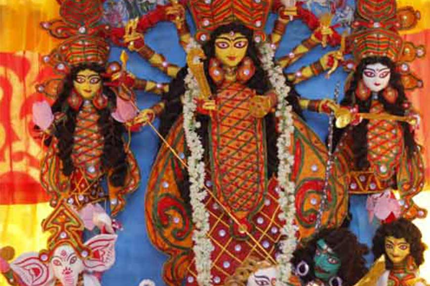Meet 9-year-old Ayush Nandi of Bagbazar, who made an exceptional Durga with paper