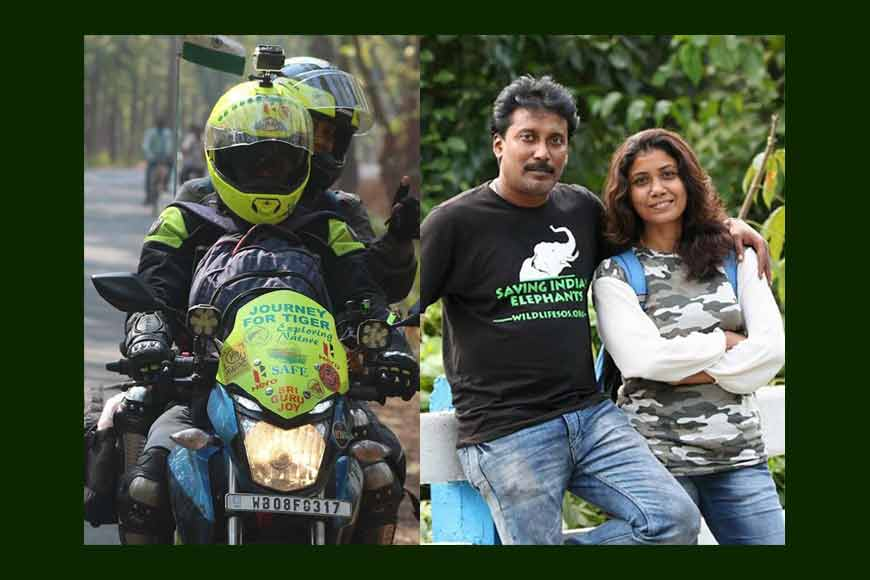 Husband-wife from Bengal venture on their bike spreading Tiger Awareness