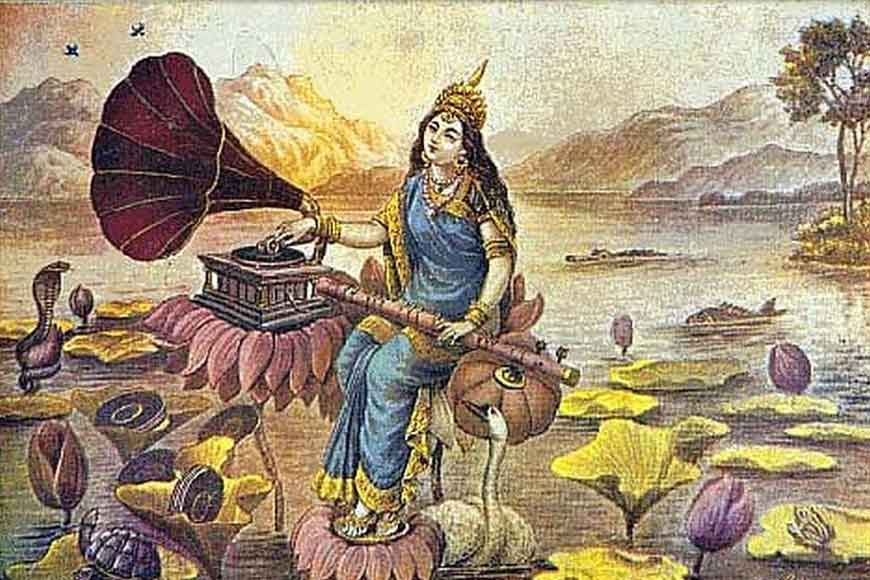 Why did Devi Saraswati find her place on gramophone records?