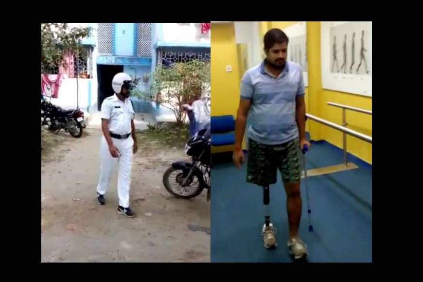 Braveheart Kolkata traffic cop with a prosthetic leg!