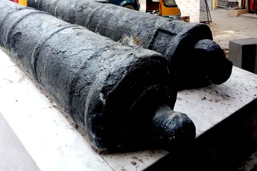 Two British era cannons lying in neglect restored by PKG