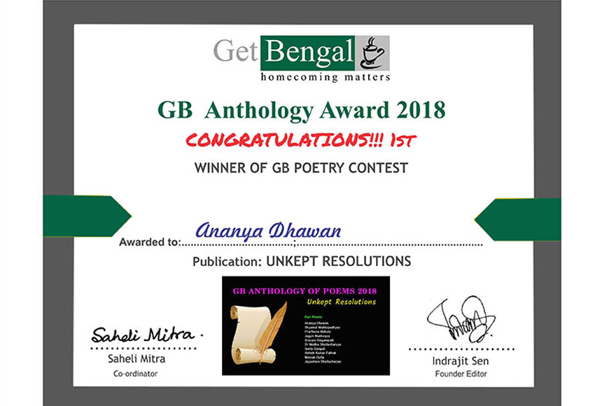 Winners of GB Anthology 2018 'UNKEPT RESOLUTIONS' Poetry Contest